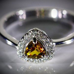 Sphene .60ct White Gold Finish Solid Silver Ring